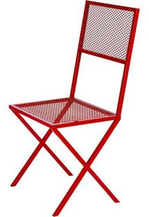 Cadeira Fran Estrutura Em Tubo Tela Expandida Cor Vermelho - 54238 - Sun House