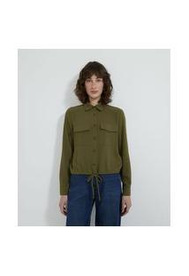 Camisa Manga Longa Com Bolsos Frontais E Botões De Pérola | Cortelle | Verde | P