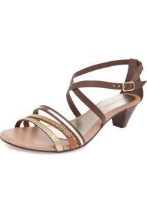 Sandália Fiveblu Stripes Marrom/Dourado