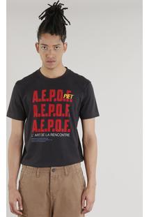 Camiseta Masculina A.E.P.O.F. + C&A By Pedro Andrade Manga Curta Gola Careca Chumbo