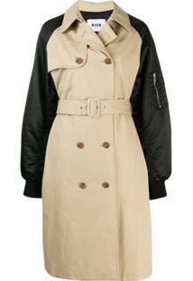 Msgm Trench Coat Com Abotoamento Duplo - Neutro