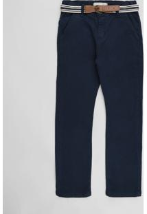 Calça De Sarja Infantil Com Bolsos E Cinto Lona Listrado Azul Marinho