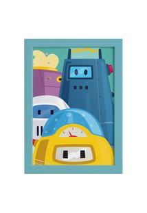 Quadro Infantil Robôs Moldura Azul 22X32Cm