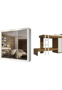 Kit Madesa Guarda-Roupa Infantil Texas Plus 3 Portas De Correr De Espelho + Beliche Larissa Branco - Tricae