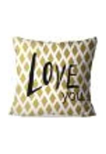 Capa De Almofada Avulsa Decorativas Love You 45X45Cm