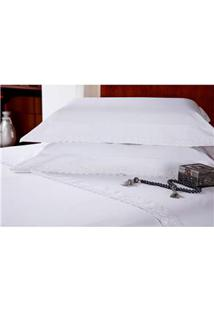 Fronha Para Travesseiro Plumasul Majestic Glamour Em Percal Com Renda 233 Fios 50 X 90 Cm – Branca