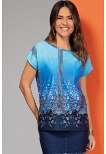 Blusa Cashmere Azul Com Mangas Curtas