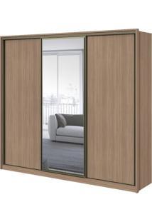 Guarda-Roupa Spazio Glass Com Espelho - 3 Portas - 100% Mdf - Carvalho Naturale Ou Carvalho Com Offwhite