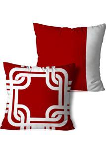 Kit 2 Capas Para Almofadas Decorativos Vermelho 45X45Cm