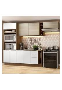 Cozinha Completa Madesa Stella 290002 Com Armário E Balcão Rustic/Branco/Saara Cor:Rustic/Branco/Saara
