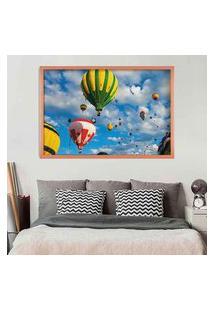 Quadro Love Decor Com Moldura Balloons In The Sky Rose Metalizado Médio