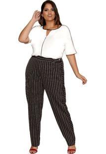 Calça Almaria Plus Size Pianeta Listrado Preto