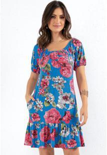 Vestido Floral Azul Com Bolsos E Babados