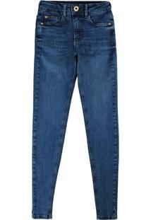Calça Azul Skinny Estonada Flex Jeans Feminina