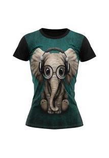 Camiseta Feminina Lucinoze Camisetas Manga Curta Elefantinho Preta