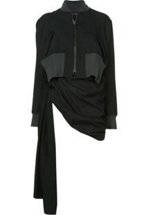 Yohji Yamamoto Jaqueta De Lã Com Franzido - Preto