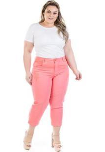 80aee46a4 ... Calça Jeans Capri Munich Plus Size Feminina - Feminino-Coral