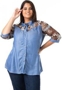 Camisa Jeans Com Tule E Renda Plus Size Confidencial Extra Feminina - Feminino-Azul