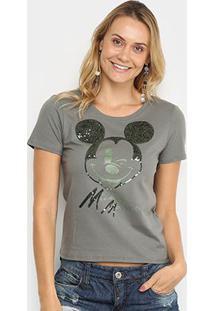 Blusa Cativa Disney Mickey Mouse Feminina - Feminino-Cinza Claro
