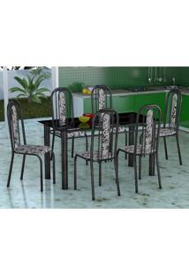 Conjunto De Mesa Com 6 Cadeiras Granada Preto E Branco Floral Vd