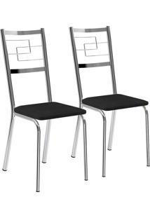 Kit 2 Cadeiras Napa Preto Cromado Móveis Carraro