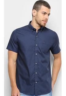 Camisa Manga Curta Lacoste Lisa Masculina - Masculino-Marinho