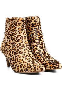 Bota Couro Cano Curto Shoestock Salto Fino Leopardo Feminina