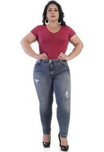 Calça Jeans Sawary Plus Size 264156 Feminina - Feminino-Azul