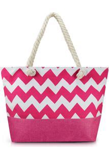 Bolsa De Praia Estampada Lisa Com Alça De Corda Jacki Design Pink