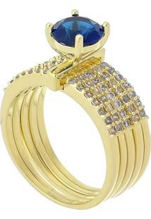 Anel Cinco Elos Com Cristal Azul 3Rs Semijoias Dourado