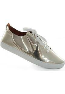 Tênis Sapato Show Metalizado - Feminino-Dourado