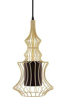 Pendente Em Metal Com Cúpula Interna Em Tecido Preto 6591 - Mart - Dourado