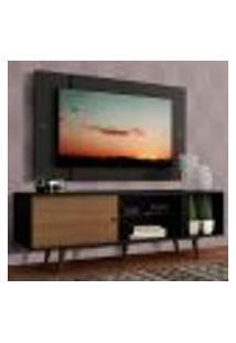 Rack Madesa Dubai Com Pés E Painel Para Tv Até 58 Polegadas - Preto/Rustic D8D8