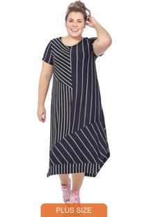 Vestido Feminino Listrado Preto
