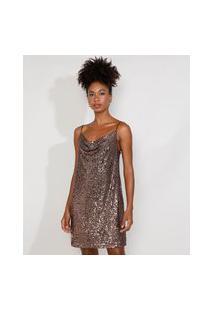Vestido Slip Dress De Paetê Feminino Mindset Curto Alça Fina Decote Degagê Marrom