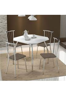 Mesa 1504 Branca Cromada Com 4 Cadeiras 154 Camurça Conhaque Carraro