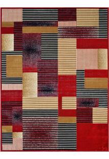 Tapete Retangular Veludo Marbella Illusione Artistic Vermelho 148X200 Cm
