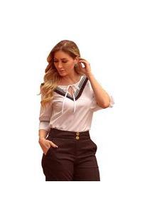 Blusa Mamorena Decote V Detalhe Franja E Fita Multicolorido