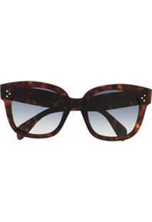 Celine Eyewear Óculos De Sol Oversized Transparente - Marrom