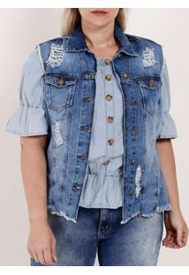 Colete Jeans Destroyed Plus Size Feminino Azul