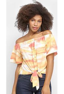 Blusa Lily Fashion Ombro A Ombro Tie Dye Feminina - Feminino-Laranja