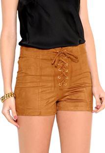 Shorts Rainess De Suede Caramelo