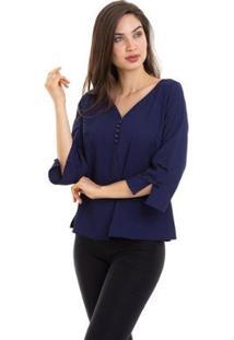 Blusa Kinara Manga ¾ Lacinhos Feminina - Feminino-Azul