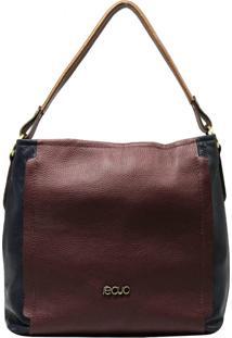 Bolsa De Couro Recuo Fashion Bag Hobo Vinho/Azul