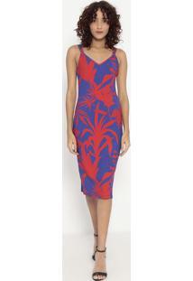 Vestido Canelado- Azul & Vermelho- Sommersommer