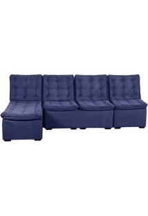 Sofá 4 Lugares Com Chaise Vermont Suede Velut Azul
