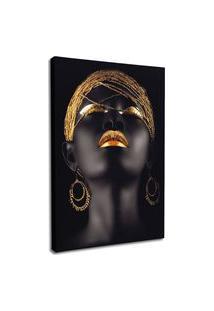 Quadro 90X60Cm Mulher Negra Maquiagem Dourada Beltza Em Canvas Decorativo