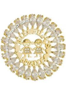 Pingente Aea Cravejado Mandala Filhos Folheado Ouro 18K - Feminino-Dourado