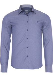 Camisa Masculina Social Slim - Azul