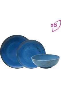 Aparelho De Jantar Nature Blue Em Porcelana- Azul & Marrfull Fit